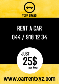 Rent a car Hire booking flyer taxi bus advert