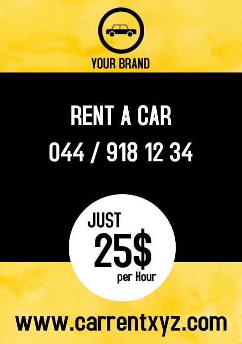 Rent a car Hire booking flyer taxi bus advert