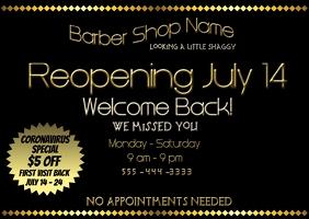 Reopening Barber Shop Postcard