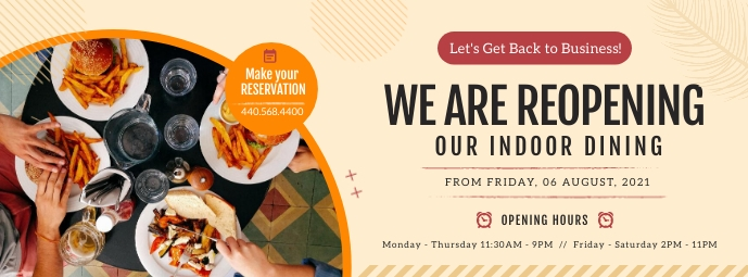 Reopening Indoor Dining Facebook Cover Photo Facebook-coverfoto template