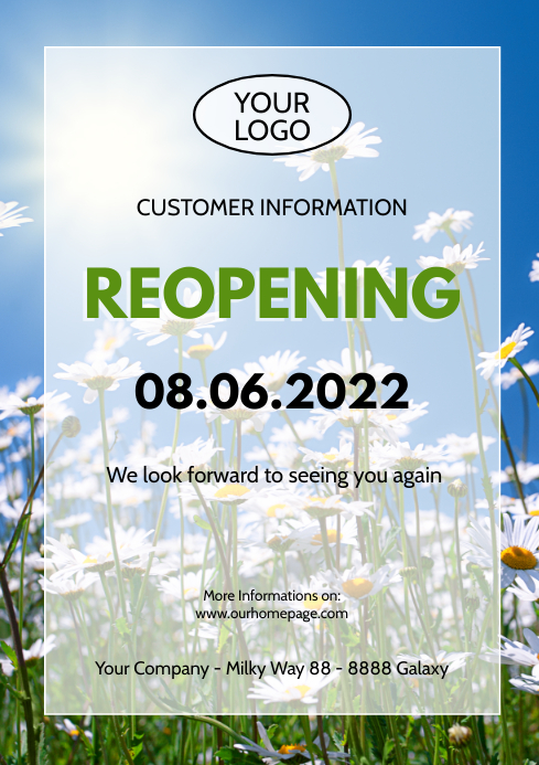 Reopening Information opening news customer i A4 template