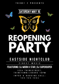 reopening Party Butterflys Poster Event