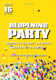 Reopening Party confetti Glass Poster Flyer