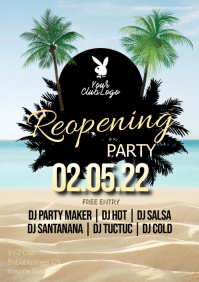 Reopening Party Flyer Poster Ad Club Latin