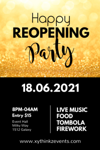 Reopening Party Opening Gold shine poster Fly