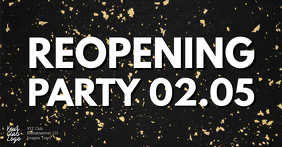 Reopening Party Opening Open Celebration Gold Facebook-gebeurtenisomslag template