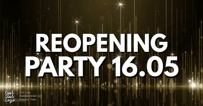 Reopening Party Opening Open Celebration Gold ปกอีเวนต์ Facebook template