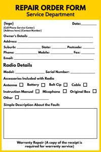 Repair Order Form Printable Template Iphosta