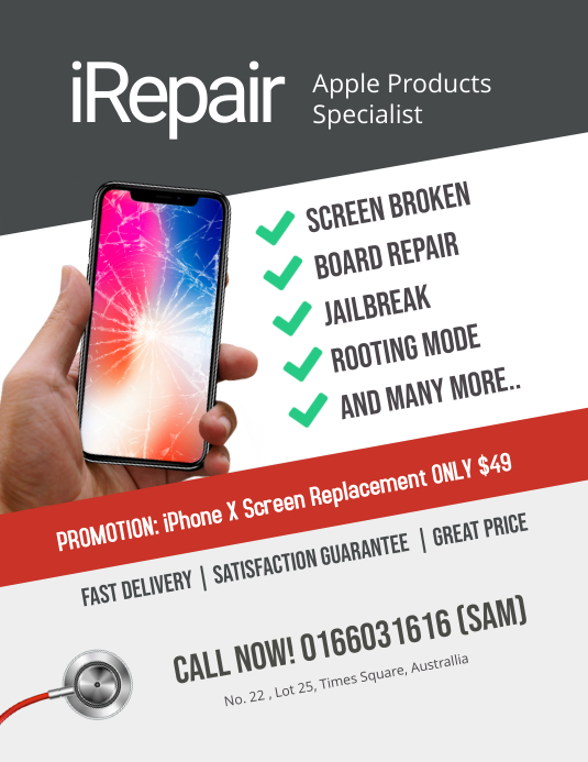 Repair Smartphone Iphone Android Flyer Template Postermywall