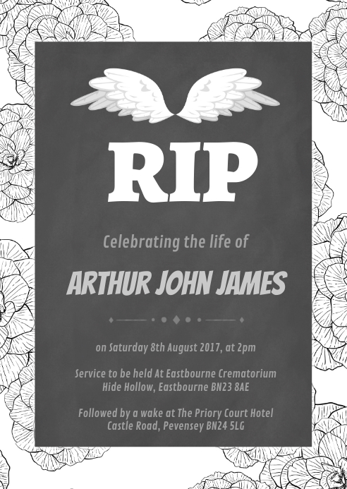 Repast home going theme Funeral Announcement A6 template