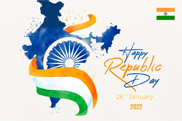 republic day, india map with flag, 26 th jan Etiqueta template