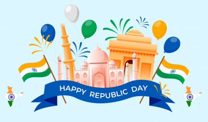 republic day, india map with flag, 26 th jan Tag template