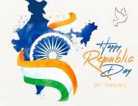republic day, india map with flag, 26 th jan Flyer (US Letter) template