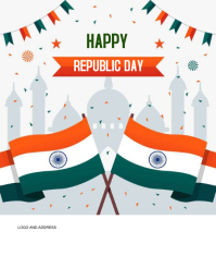 republic day, india map with flag, 26 th jan Flyer (format US Letter) template