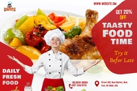 Restaurant ads Etiqueta template