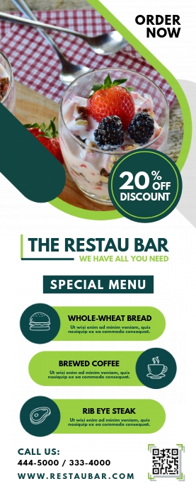 Restaurant Bar Advert Roll Up Banner template