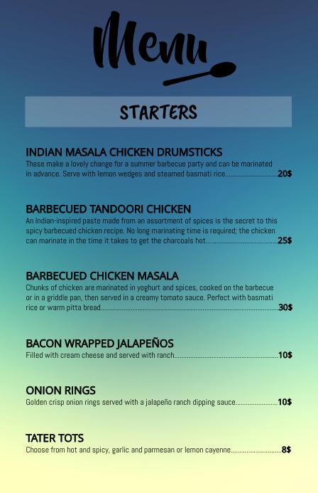 restaurant/bar menu template design