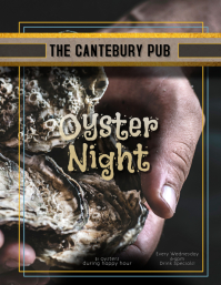 Restaurant Bar or Pub Oyster Night Happy Hour Flyer Pamflet (VSA Brief) template