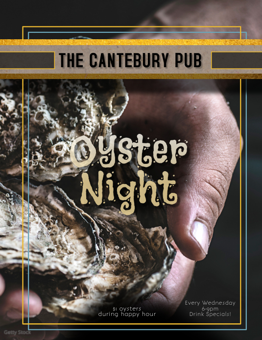 Restaurant Bar or Pub Oyster Night Happy Hour Flyer template