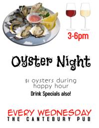Restaurant Bar or Pub Oyster Night Happy Hour Flyer