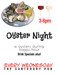 Restaurant Bar or Pub Oyster Night Happy Hour Flyer Volantino (US Letter) template