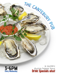 Restaurant Bar or Pub Oyster Night Happy Hour Flyer