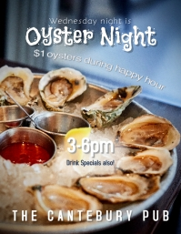 Restaurant Bar or Pub Oyster Night Happy Hour Flyer template