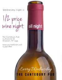 Restaurant Bar or Wine Bar Wine Bottle Sale event