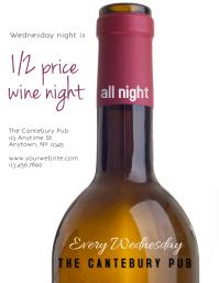Restaurant Bar or Wine Bar Wine Bottle Sale event Flyer (US Letter) template