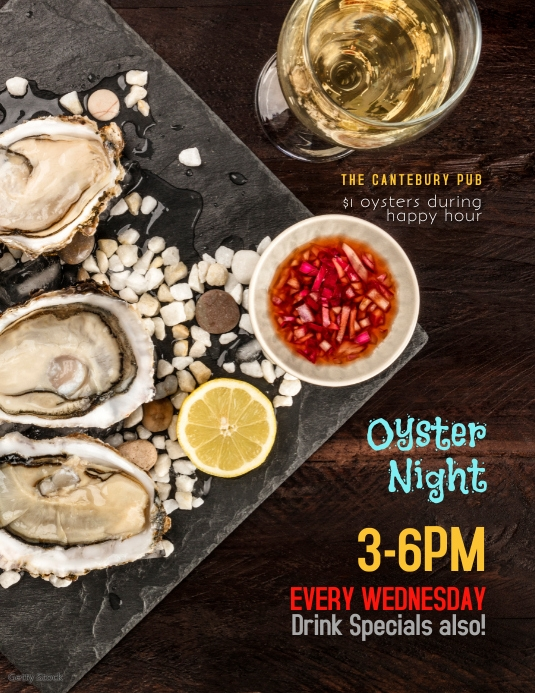 Restaurant Bar Oyster Night Happy Hour Flyer
