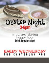 Restaurant Bar Oyster Night Happy Hour Flyer Volante (Carta US) template