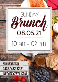 Restaurant Bistro Brunch Break fast Poster Flyer A4 template