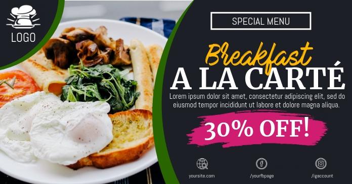 Restaurant Breakfast Promo Facebook Shared Image template