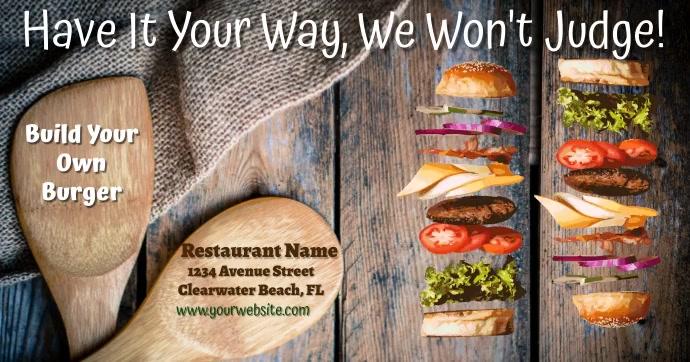 Restaurant Burger Advert delt Facebook-billede template