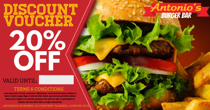 Restaurant Burger Bar Promo Facebook Ad Template