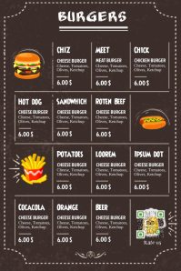 Restaurant burger menu - Black leather background