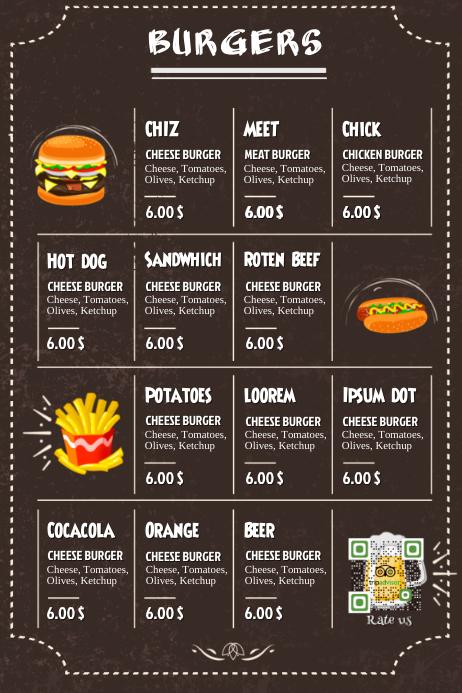 Restaurant burger menu - Black leather background