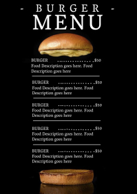 Restaurant Burger Menu Template A4