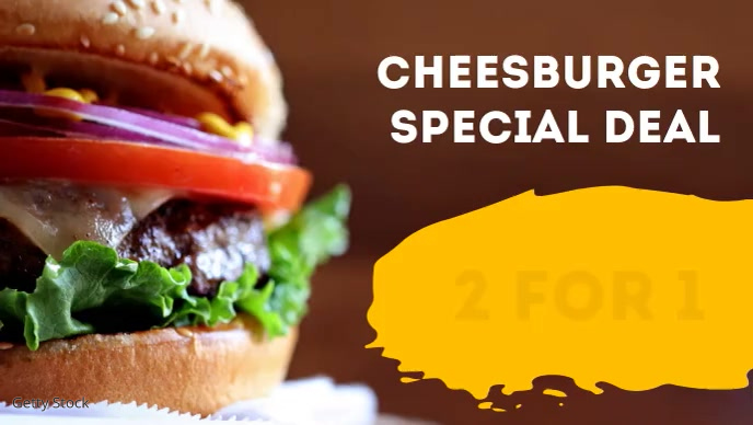 Restaurant Burger Offer Advert Header Food Facebook-omslagvideo (16: 9) template