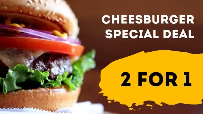 Restaurant Burger Offer Advert Header Food Film w tle na Facebooka (16:9) template