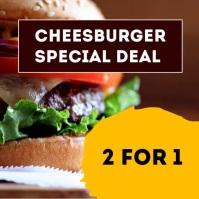 Restaurant Burger Offer Advert Header Food Quadrat (1:1) template