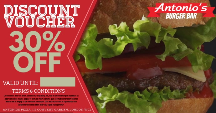 Restaurant Burger video Promo Ad Template