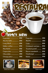 Restaurant cafe flyer: breakfast, coffee, bakery and cupcake menu