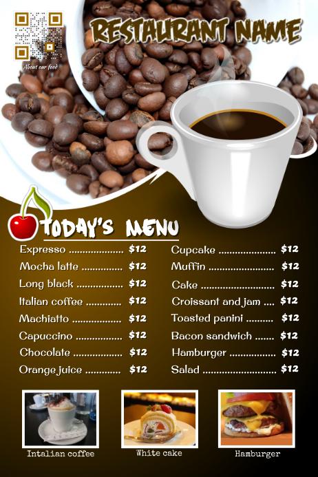 Restaurant cafe flyer: breakfast, coffee, bakery and cupcake menu