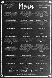 Restaurant Chalkboard Menu Template