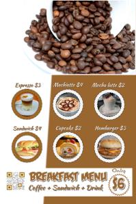 Restaurant coffee poster - Cafe menu