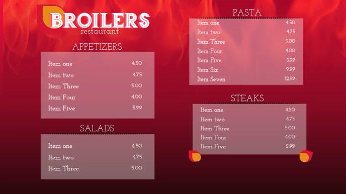 Restaurant digital display