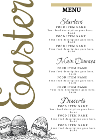 Restaurant Easter Dinner Menu Template A4