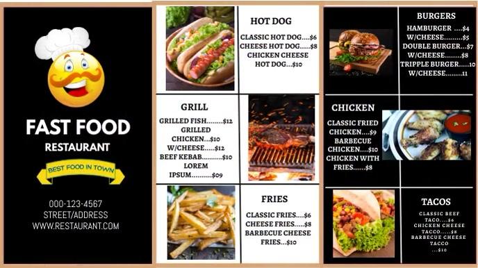 restaurant flyer Digital Display (16:9) template