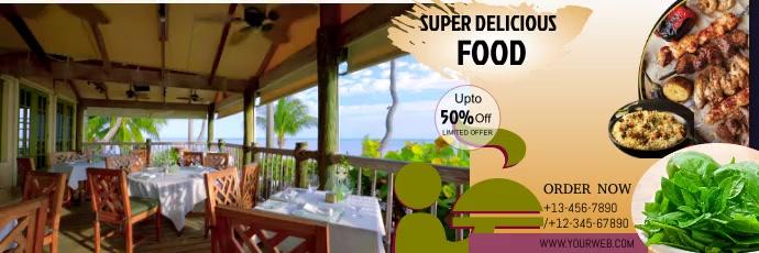 Restaurant flyer Twitter Header template